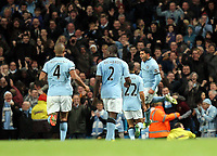 Barclays Premier League, Man City (blue) V Swansea City (white) Etihad Stadium, 27/10812<br /> Pictured: Tevez breaks the dead lock around the sixty minute mark to put the home side ahead<br /> Picture by: Ben Wyeth / Athena Picture Agency