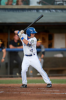 Bluefield Blue Jays third baseman Davis Schneider (8) at bat during a game against the Bristol Pirates on July 26, 2018 at Bowen Field in Bluefield, Virginia.  Bristol defeated Bluefield 7-6.  (Mike Janes/Four Seam Images)
