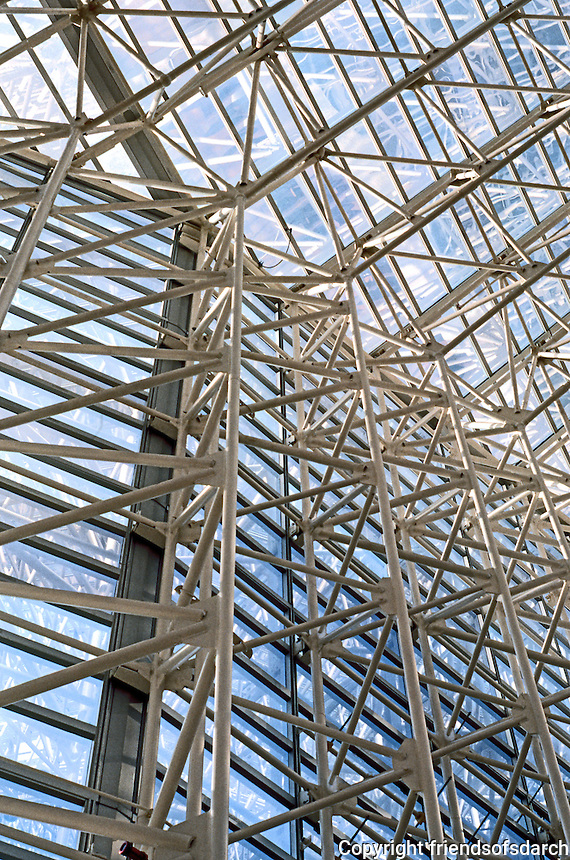 Philip Johnson: Crystal Cathedral--Interior detail. White frames. Photo '80.