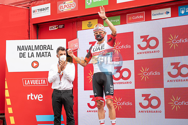 Rafal Majka (POL) UAE Team Emirates wins Stage 15 of La Vuelta d'Espana 2021, running 197.5km from Navalmoral de la Mata to El Barraco, Spain. 29th August 2021.     <br /> Picture: Cxcling | Cyclefile<br /> <br /> All photos usage must carry mandatory copyright credit (© Cyclefile | Cxcling)