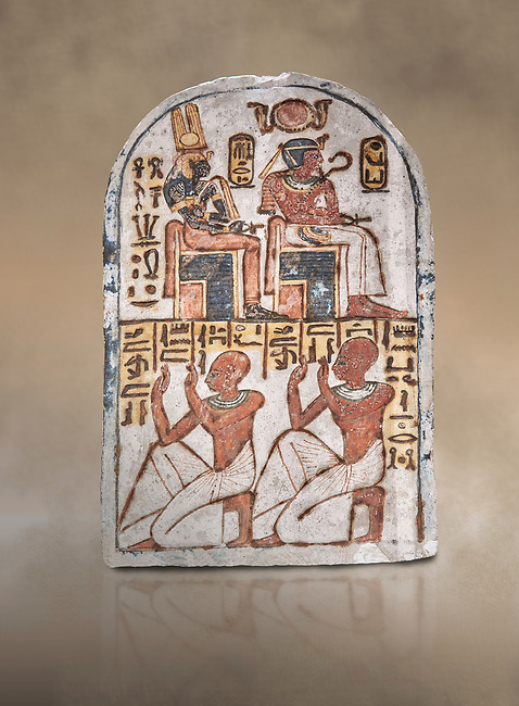 """Ancient Egyptian Stele of Amenemope dedicated to Amenhotep I and Ahmose-Nefertari, limestone, New Kingdom, 19th Dynasty, (1279-1213 BC), Deir el-Medina, Drovetti cat 1454. Egyptian Museum, Turin. <br /> <br /> The stele is dedicated to Amenhotep I and Ahmose-Nefertari by the 'Servant in the Place of Truth' Amenemope and Amennakht. The king and the queen are shown sitting on their thrones. Above the sovereign there is a solar disc flanked by two sacred cobras and their cartouches are shown to the right of each of them. In the bottom register Amenemope is shown with his son  Amennakht, who also was a """"Servant in the Place of Truth"""", in the pose of adoration."""