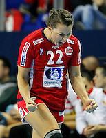 Norwayís Nora Mork celebrate during Women's Handball World Championship 2013 match against Spain on December 7, 2013 in Zrenjanin.   AFP PHOTO / PEDJA MILOSAVLJEVIC