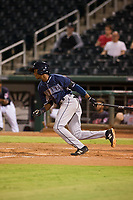 AZL Padres second baseman Esteury Ruiz (13) follows through on his swing against the AZL Indians on August 30, 2017 at Goodyear Ball Park in Goodyear, Arizona. AZL Padres defeated the AZL Indians 7-6. (Zachary Lucy/Four Seam Images)