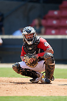 Carolina Mudcats catcher Nathan Rodriguez (9) during a Carolina League game against the Winston-Salem Dash on August 14, 2019 at Five County Stadium in Zebulon, North Carolina.  Winston-Salem defeated Carolina 4-2.  (Mike Janes/Four Seam Images)