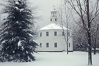 AJ4620, Richmond, round church, winter, Vermont, The Old Round Church (a 16 sided polygon) National Historical Landmark in the winter in the town of Richmond in Chittenden County in the state of Vermont.