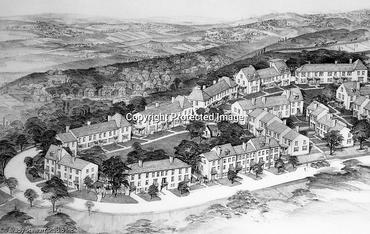 Mt. Washington:  View of a Chatham Village rendering. This rendering had a view from the city toward the south hills. Rendering was done by Ingham and Boyd Architects. Chatham Village was funded by the Buhl Foundation and the concept created by renowned city planners Clarence Stein and Henry Wright.  The architect for Chatham Village was Ingham & Boyd, an architectural firm founded in 1911 with offices located in the Empire Building in downtown Pittsburgh.  The architecture of Chatham Village was significant as it provided an architectural form to an entire model community with an intent to incorporate the many conveniences of modern living into the housing of moderate cost. The architects had to devise new approaches to accommodate the automobile, radio, kitchen appliances, heating systems, and utility infrastructures while also attempting to give full realization to the idealistic goals of the Garden City movement.