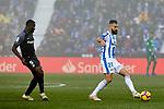 CD Leganes' Dimitrios Siovas and Sevilla FC's Ibrahim Amadou during La Liga match between CD Leganes and Sevilla FC at Butarque Stadium in Leganes, Spain. December 23, 2018. (ALTERPHOTOS/A. Perez Meca)