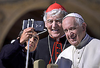 Pope Francis Italian Cardinal Edoardo Menichelli during Jubilee Audience at St Peter's square in Vatican. on October 22, 2016.