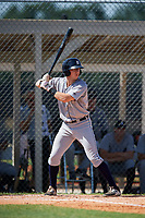 GCL Tigers West first baseman Justin Childers (33) at bat during a game against the GCL Tigers East on August 8, 2018 at Tigertown in Lakeland, Florida.  GCL Tigers East defeated GCL Tigers West 3-1.  (Mike Janes/Four Seam Images)