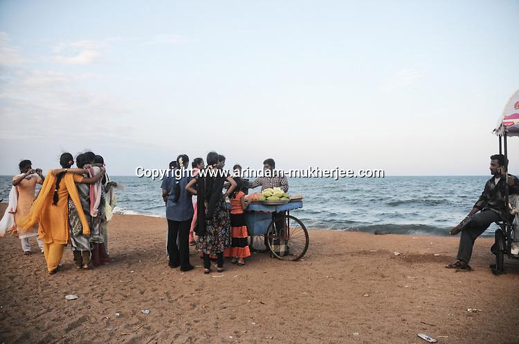 Indian tourists at the beach of Pondicherry. Arindam Mukherjee
