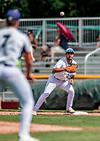 3 September 2018: Vermont Lake Monsters infielder Alfonso Rivas in action against the Tri-City ValleyCats at Centennial Field in Burlington, Vermont. The Lake Monsters defeated the ValleyCats 9-6 in the last game of the 2018 NY Penn League regular season. Mandatory Credit: Ed Wolfstein Photo *** RAW (NEF) Image File Available ***