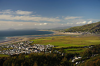 The village of Fairbourne, on the Cardigan Bay coast, Gwynedd, north Wales, UK which is threatened by the policy of 'managed retreat' of the coastal sea defences.