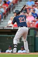 Pawtucket Red Sox outfielder Alex Hassan (21) at bat during a game against the Buffalo Bisons on August 23, 2014 at Coca-Cola Field in Buffalo, New  York.  Buffalo defeated Pawtucket 15-2.  (Mike Janes/Four Seam Images)