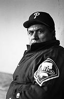 Philadelphia Phillies Manager Jim Fregosi at Dodger Stadium in Los Angeles,California during the 1996 season. (Larry Goren/Four Seam Images)