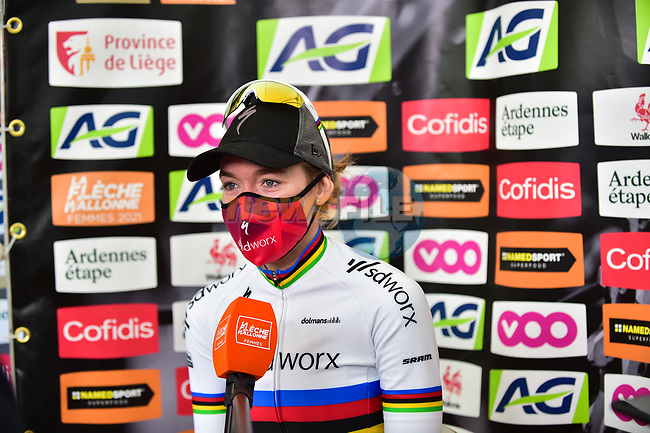 World Champion Anna Van Der Breggen (NED) Team SD Worx wins the 2021 Flèche-Wallonne Femmes, running 130.2 km from Huy to Huy, Belgium. 21st April 2021.  <br /> Picture: A.S.O./Gautier Demouveaux   Cyclefile<br /> <br /> All photos usage must carry mandatory copyright credit (© Cyclefile   A.S.O./Gautier Demouveaux)