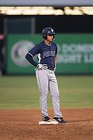 AZL Padres 2 center fielder Sean Guilbe (10) stands on second base after hitting a double during an Arizona League game against the AZL Angels at Tempe Diablo Stadium on July 18, 2018 in Tempe, Arizona. The AZL Padres 2 defeated the AZL Angels 8-1. (Zachary Lucy/Four Seam Images)
