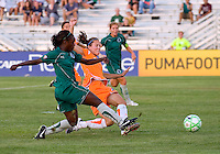 Saint Louis Athletica forward Enoila Aluko (9) and Sky Blue FC defender Keeley Dowling (17) during a WPS match at Anheuser Busch Soccer Park, in St. Louis, MO, July 22 2009. Athletica won the match 1-0.