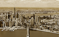 aerial photograph Brooklyn Bridge, One World Trade Center, Lower Manhattan, Civic Center, New York City