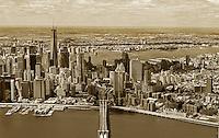 aerial photograph Brooklyn Bridge, One World Trade Center, Lower Manhattan, Civic Center, New York City