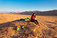 Nomadic campsite on a cool morning in the desert of Wadi Rum before the day became almost unbearably hot.