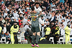 Real Madrid's Thibaut Courtois (l) and Marcelo Vieira celebrate goal during La Liga match. March 1,2020. (ALTERPHOTOS/Acero)
