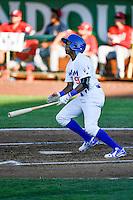 Errol Robinson (9) of the Ogden Raptors at bat against the Orem Owlz in Pioneer League action at Lindquist Field on June 27, 2016 in Ogden, Utah. Orem defeated Ogden 4-3.  (Stephen Smith/Four Seam Images)