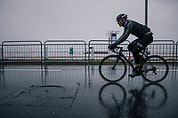 André Greipel (DEU/Lotto-Soudal) on his way to the race start on the Promenade des Anglais in torrential rained down Nice (and next to the Mediterranean Sea)<br /> <br /> 76th Paris-Nice 2018<br /> Stage 8: Nice > Nice (110km)