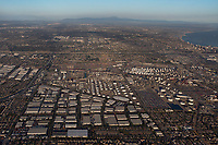 aerial photograph of Carson, Los Angeles County, California.  Long Beach is visible at the right past I-710.