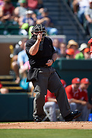 Umpire Kevin Jones strike call during a Florida Southern Moccasins exhibition game against the Detroit Tigers on February 29, 2016 at Joker Marchant Stadium in Lakeland, Florida.  Detroit defeated Florida Southern 7-2.  (Mike Janes/Four Seam Images)