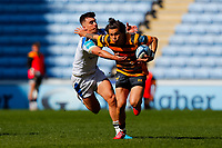25th April 2021; Ricoh Arena, Coventry, West Midlands, England; English Premiership Rugby, Wasps versus Bath Rugby; Jacob Umaga of Wasps hands off Orlando Bailey of Bath Rugby