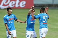 Faouzi Ghoulam of SSC Napoli celebrates with team mates after scoring a goal<br /> during the friendly football match between SSC Napoli and L Aquila 1927 at stadio Patini in Castel di Sangro, Italy, August 28, 2020. <br /> Photo Cesare Purini / Insidefoto