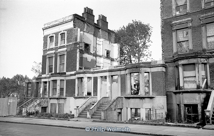 Partly demolished Victorian terraced housing in Walterton Road, North Paddington, April 1975.