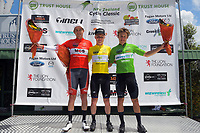Tour jerseys after stage two, from left: Toby Atkins ((Couplands/Booth's Group, most aggressive), Luke Mudwgay (Black Spoke, yellow jersey) and Corbin Strong (NZ national team, u23 and sprint). Masterton-Alfredton road circuit - Stage Two of 2021 NZ Cycle Classic UCI Oceania Tour in Wairarapa, New Zealand on Wednesday, 13 January 2021. Photo: Dave Lintott / lintottphoto.co.nz