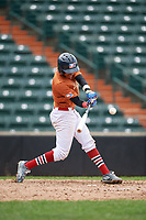 Yeison Lemos (7) swings at a pitch during the Dominican Prospect League Elite Underclass International Series, powered by Baseball Factory, on July 21, 2018 at Schaumburg Boomers Stadium in Schaumburg, Illinois.  (Mike Janes/Four Seam Images)
