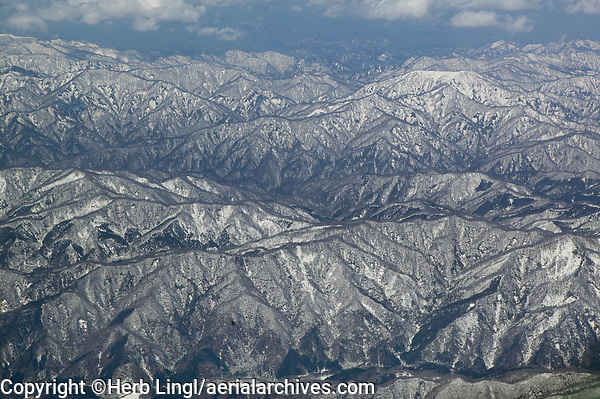 aerial photograph of the Ou mountains in Tohoki, northern Honshu, Japan