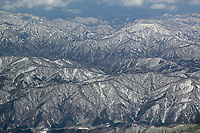 aerial photograph of the Ou mountains in Tohoki, northern Honshu, Japan