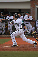 Coastal Carolina University shortstop Brian Pruitt #6 at bat during a game against the James Madison University Dukes at Watson Stadium at Vrooman Field on February 17, 2012 in Conway, SC.  Coastal Carolina defeated James Madison 7-1.  (Robert Gurganus/Four Seam Images)