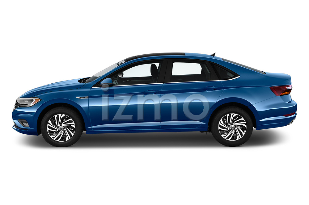 Car driver side profile view of a 2019 Volkswagen Jetta SEL Premium 4 Door Sedan