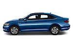 Car driver side profile view of a 2019 Volkswagen Jetta SEL Premium 4 Door Sedan