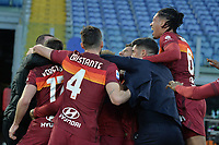 Lorenzo Pellegrini of Roma celebrates with team mate and Fonseca after scoring  the 4-3 goal  during the Serie A football match between AS Roma and AC Spezia at Olimpico stadium in Roma (Italy), Jannuary 23th, 2021. Photo Antonietta Baldassarre / Insidefoto