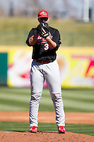 Travis Felax (37) of the Southern Illinois University- Edwardsville Cougars on the mound during a game against the Missouri State Bears at  Hammons Field on March 10, 2012 in Springfield, Missouri. (David Welker / Four Seam Images)