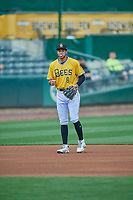Jake Gatewood (8) of the Salt Lake Bees during the game against the Tacoma Rainiers at Smith's Ballpark on May 16, 2021 in Salt Lake City, Utah. The Bees defeated the Rainiers 8-7. (Stephen Smith/Four Seam Images)