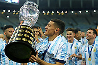10th July 2021, Estádio do Maracanã, Rio de Janeiro, Brazil. Copa America tournament final, Argentina versus Brazil;  Nahuel Molina Lucero of Argentina holds up the cup after their win