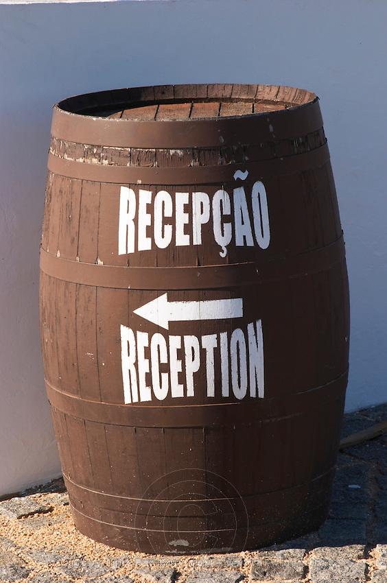 barrel with sign to reception j portugal ramos vinhos alentejo portugal