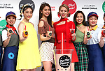 April 23, 2019, Tokyo, Japan - E-girls members (2nd L-2nd R) Nozomi Bando, Harumi Sato, Kaede and Nonoka Yamaguchi attend a promotional event for new tapioca drinks launched by donut store Mister Donut in Tokyo on Tuesday, April 23, 2019. Mister Donut will launch four flavored tapioca drinks on April 26.       (Photo by Yoshio Tsunoda/AFLO)