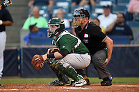 Daytona Tortugas catcher Chad Wallach (15) and umpire Derek Ivinski during a game against the Tampa Yankees on April 24, 2015 at George M. Steinbrenner Field in Tampa, Florida.  Tampa defeated Daytona 12-7.  (Mike Janes/Four Seam Images)