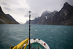 The Arctic expedition ship, Akademik Shokakskiy sails through the Prins Christian Sound in Greenland. The Katabatic winds from the icecap froth the waves. The sound is a safer passage around the southern tip of Greenland.