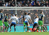 Moussa Sissoko of Newcastle United (2nd from right) scores their second goal during the Barclays Premier League match between Newcastle United and Swansea City played at St. James' Park, Newcastle upon Tyne, on the 16th April 2016