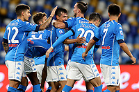 Napoli players celebrates after a goal during the Serie A football match between SSC Napoli and Genoa CFC at San Paolo stadium in Napoli (Italy), September 27th, 2020. Photo Cesare Purini / Insidefoto