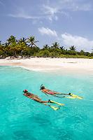 Snorkelers at Sandy Cay<br /> British Virgin Islands